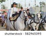 seville  spain   apr  25  woman ... | Shutterstock . vector #582965395