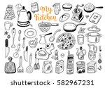 kitchen utensils  cooking stuff ... | Shutterstock .eps vector #582967231