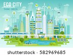 eco city skyline vector...