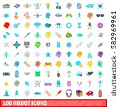 100 robot icons set in cartoon...   Shutterstock .eps vector #582969961