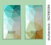 set of multicolored polygon... | Shutterstock .eps vector #582980584