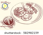 hand drawn breakfast... | Shutterstock .eps vector #582982159