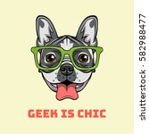 boxer nerd dog. geek is chic.... | Shutterstock .eps vector #582988477
