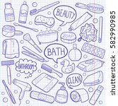 bathroom tools doodle sketch... | Shutterstock .eps vector #582990985