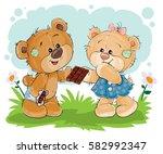vector illustration of funny... | Shutterstock .eps vector #582992347