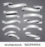 set of white curved ribbon or... | Shutterstock .eps vector #582994954