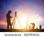 silhouette survey engineer... | Shutterstock . vector #582995431
