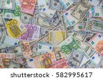 Many Dollar And Euro Banknote...
