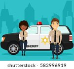 sheriff and his partner... | Shutterstock .eps vector #582996919