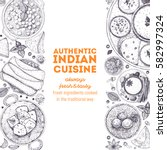 indian food top view. indian... | Shutterstock .eps vector #582997324
