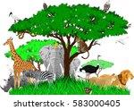vector african savannah with... | Shutterstock .eps vector #583000405