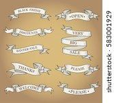 white ribbon banners set.... | Shutterstock .eps vector #583001929