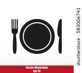 plate fork and knife | Shutterstock .eps vector #583006741