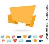 vector set of flat origami... | Shutterstock .eps vector #583010851