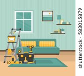 renovation room. home interior... | Shutterstock .eps vector #583015879