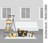 renovation room. home interior... | Shutterstock .eps vector #583015885