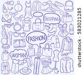 fashion shopping doodle icon... | Shutterstock .eps vector #583021285