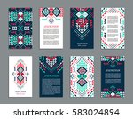 aztec style colorful vertical... | Shutterstock .eps vector #583024894