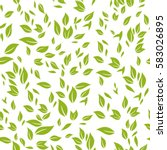 seamless pattern green leaves.... | Shutterstock .eps vector #583026895
