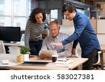 office colleagues talking... | Shutterstock . vector #583027381