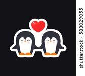 pinguins  sticker. vector...   Shutterstock .eps vector #583029055