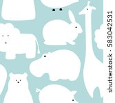 Stock vector vector flat animals design background cute seamless pattern with giraffe lion hippo polar bear 583042531