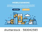 mobile banking concept for web... | Shutterstock .eps vector #583042585