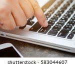 close up  male's finger... | Shutterstock . vector #583044607