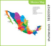 the detailed map of the mexico... | Shutterstock .eps vector #583055419