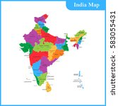 the detailed map of the india... | Shutterstock .eps vector #583055431