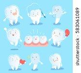 cute cartoon tooth wear brace... | Shutterstock .eps vector #583061089