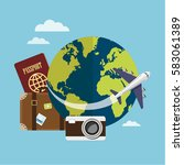 traveling around the world by... | Shutterstock .eps vector #583061389