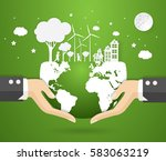 concept eco earth and hand ... | Shutterstock .eps vector #583063219
