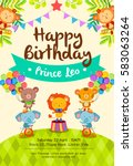 Stock vector colorful birthday invitation card with cute circus animals on grass set one 583063264