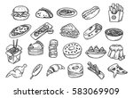 set of hand drawn food isolated ... | Shutterstock .eps vector #583069909