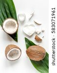 organic cosmetics with coconut... | Shutterstock . vector #583071961