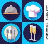 restaurant icons set flat style ...   Shutterstock .eps vector #583071994