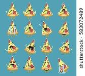 pizza character emoji set.... | Shutterstock .eps vector #583072489