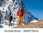 trekkers are in khumbu valley... | Shutterstock . vector #583073041