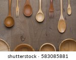 wood spoon fork and bowl on... | Shutterstock . vector #583085881