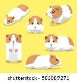 Cute Guinea Pig Poses Cartoon...