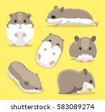 Cute Hamster Poses Cartoon...
