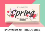 spring sale background banner... | Shutterstock .eps vector #583091881