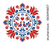 hungarian folk motif | Shutterstock .eps vector #583094857