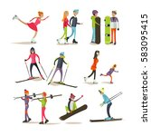 set of characters skating ... | Shutterstock . vector #583095415