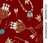 indian jewelry pattern  | Shutterstock . vector #583096711