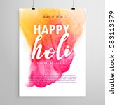 happy holi flyer design for... | Shutterstock .eps vector #583113379