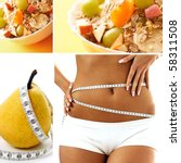 diet food collage - stock photo