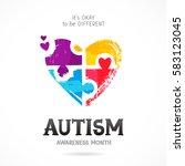 autism awareness month. it's... | Shutterstock .eps vector #583123045