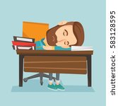 fatigued student sleeping at... | Shutterstock .eps vector #583128595